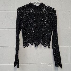 Nwt  ESSUE Black Lace Crop Top Sz S